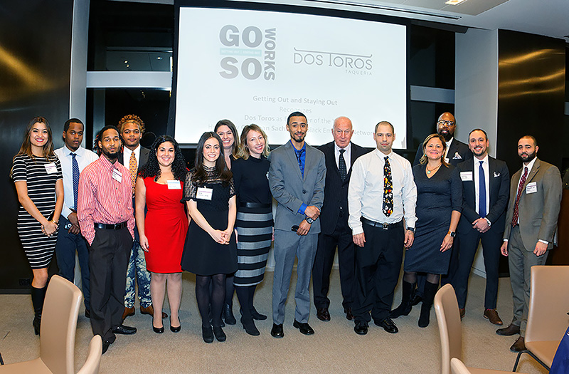 Getting Out / Staying Out (GOSO) honors Dos Toros Taqueria as Employer of the Year at a ceremony hosted by Goldman Sachs' IMD Black Employee Network, New York City December 6th, 2016.
